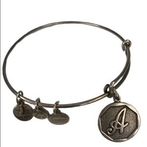 "Alex & Ani Letter ""A"" Silver Tone Bangle Bracelet"